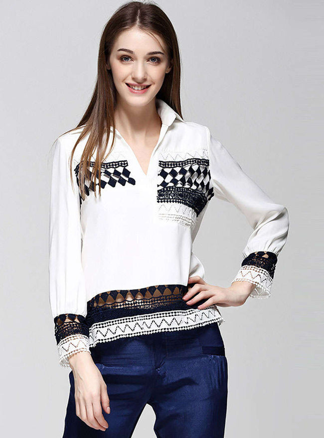 White Geometry Printed Hollow Out Blouse