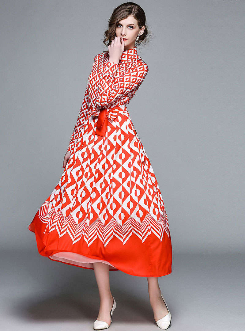 Red Geometric Printed Belted Maxi Dress