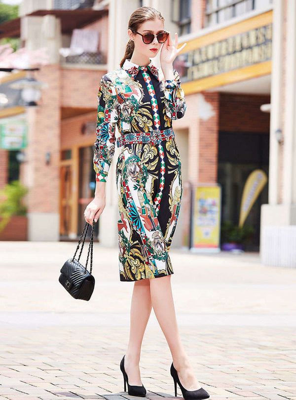 Floral Printed Beading Cinched Waist Midi Dress