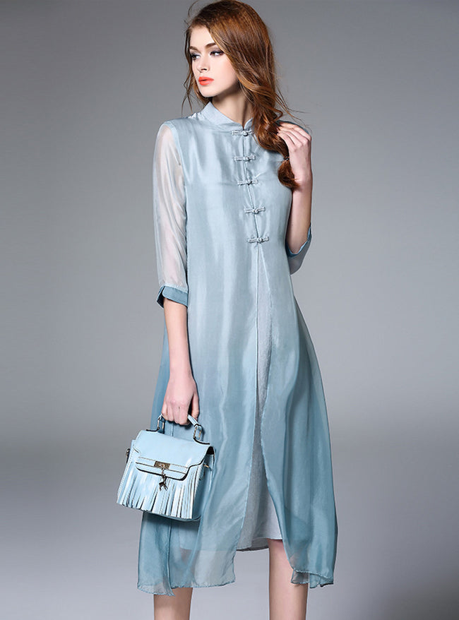 Pure Color Silk Short Sleeve Midi Dress