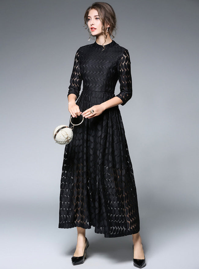 Black Lace Stand Collar Maxi Dress