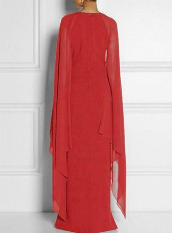 Solid Color Round-Neck Split Maxi Dress