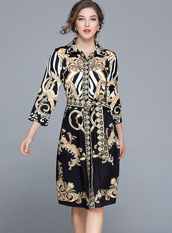 Vintage Floral Printed Waistband Midi Dress
