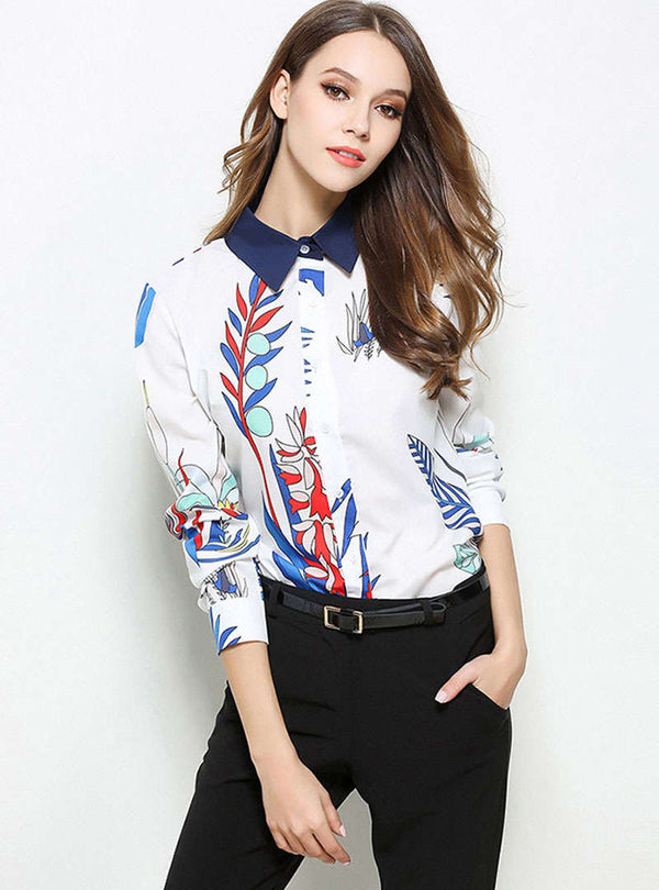 Hit Color Floral Printed Blouse