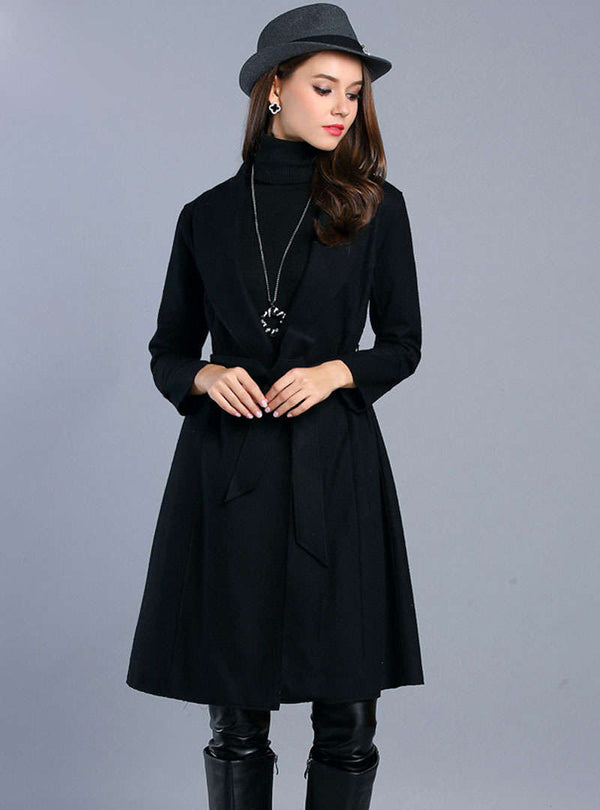 Black Wool Trench Coat With Ribbon