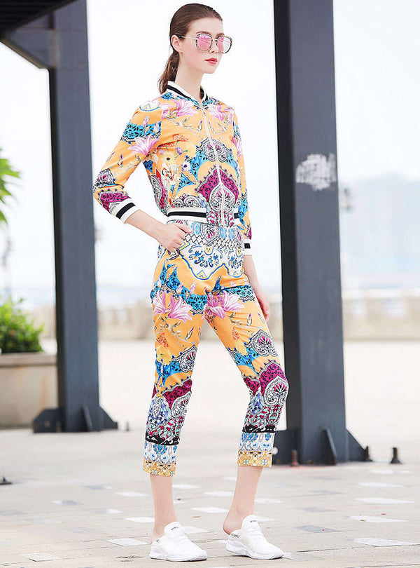 Stylish Printed Front Zipper Two Piece Outfits