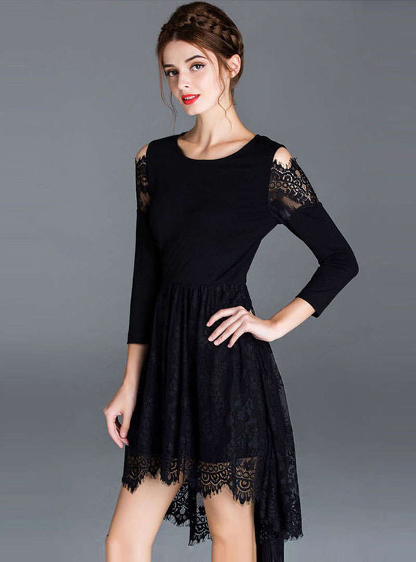 Black High-Low Hem Lace Hollow Out Mini Dress