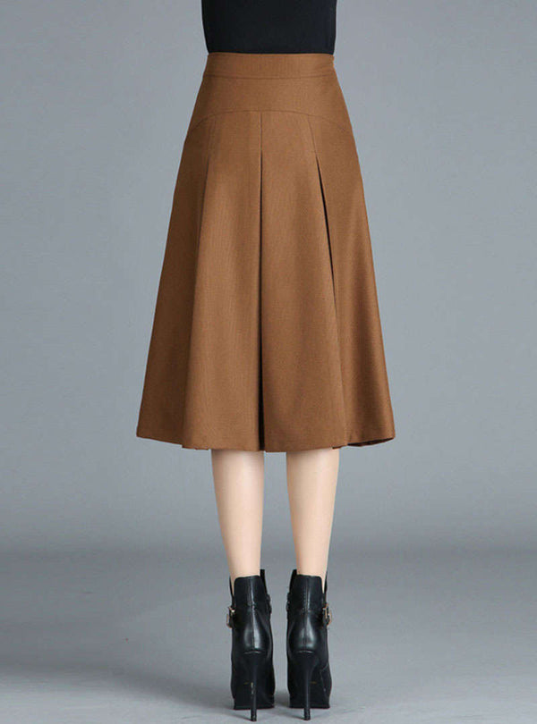 Solid Color Pleated Woolen Skirt