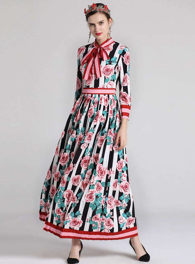 Floral Printed Knot Tie Ruffled Maxi Dress