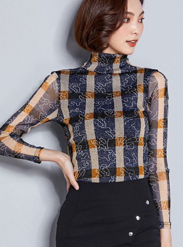 High Neck Plaid Long Sleeves Blouse