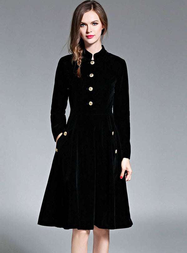Retro Black Velvet Stand Neck Midi Dress