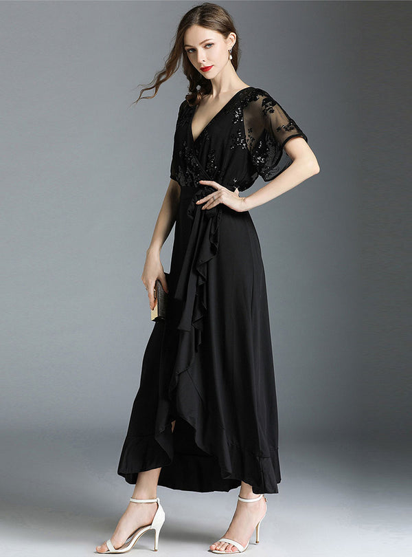Black V-Neck Spliced Maxi Dress