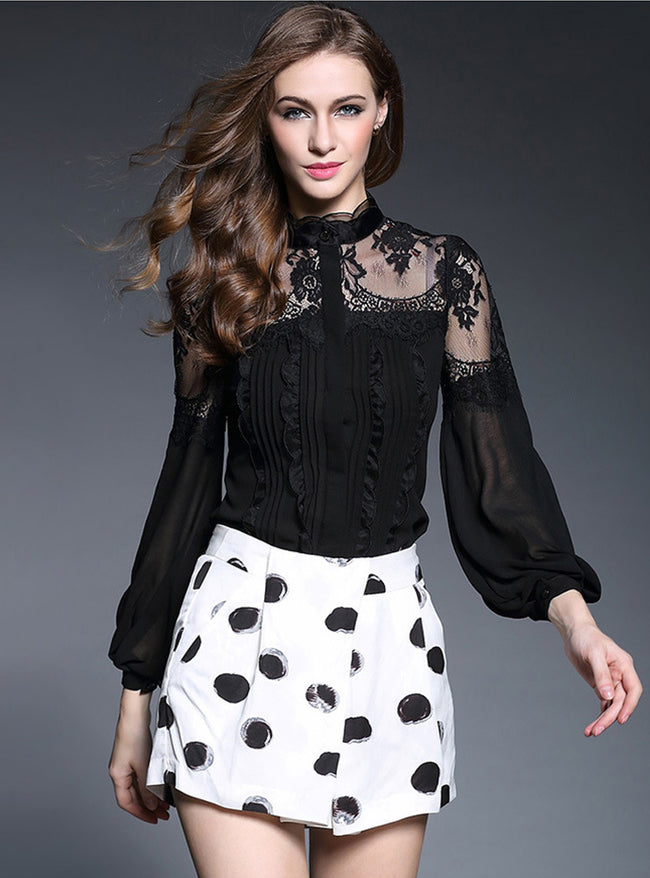 Pure Color Lace Lantern Sleeve Blouse
