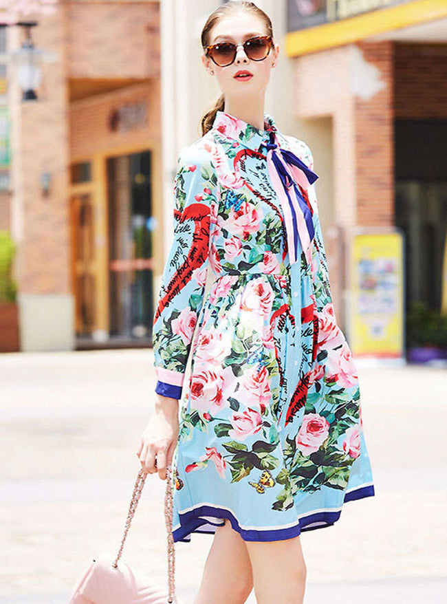 Multi Color Floral Printed Bowknot Neck Mini Dress
