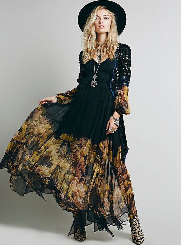 Black V-Neck Floral Printed Swing Maxi Dress