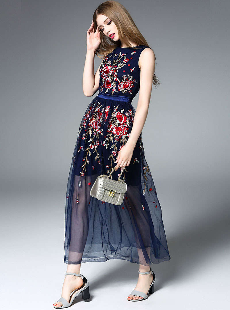 Navy Blue Floral Embroidered High Waist Maxi Dress
