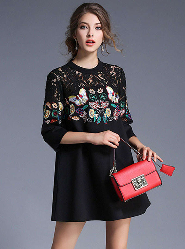 Black Butterfly Embroidered Lace A-line Mini Dress