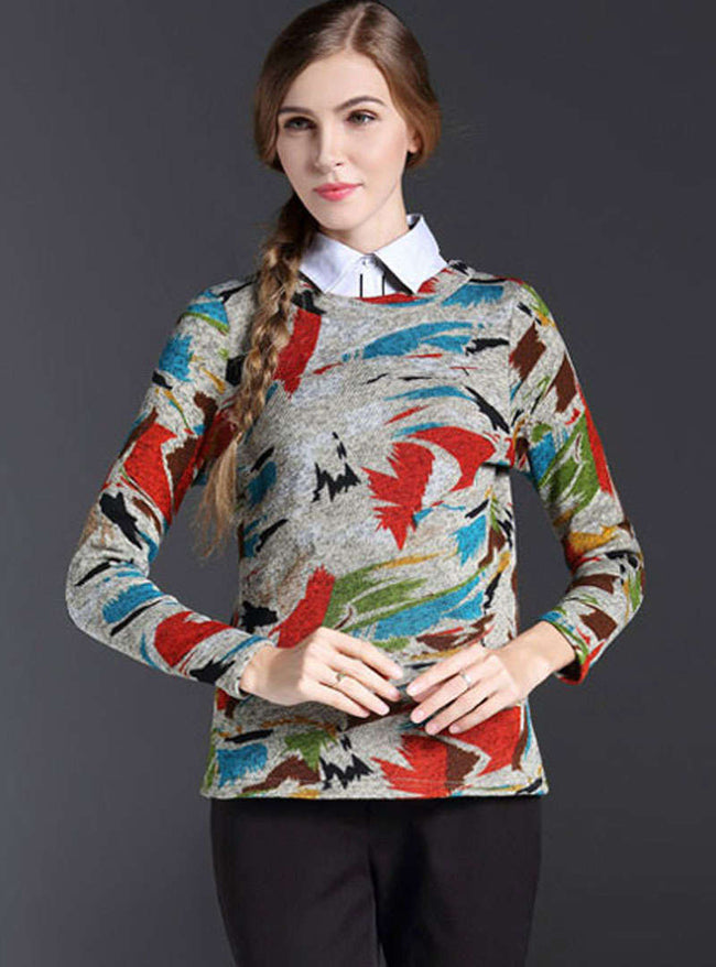 Multi-Color Floral Printed Woolen Sweater