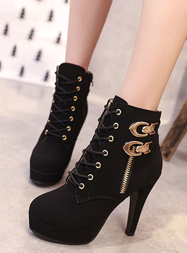 Lace Up High Heel Boots With Buckle