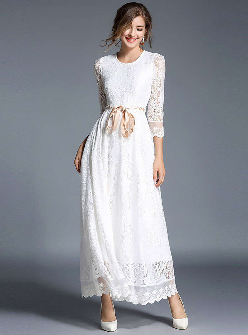 White Cinched Waist Swing Lace Maxi Dress
