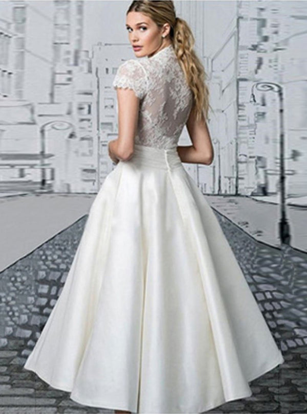 White Lace Embroided A-Line Evening Dress