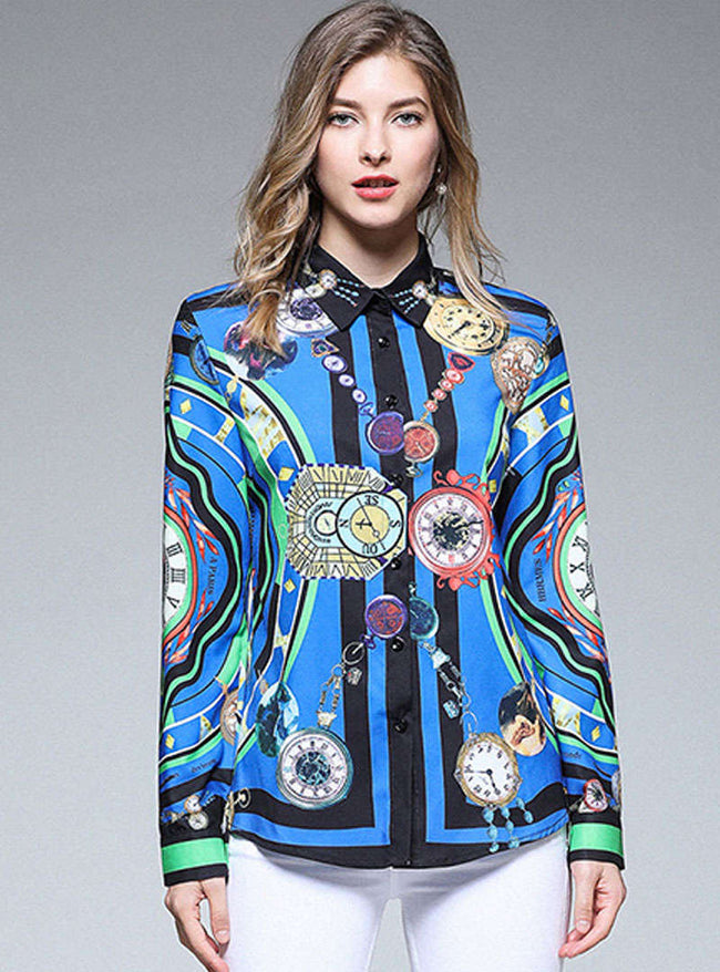 Dark Blue Retro Floral Printed Blouse