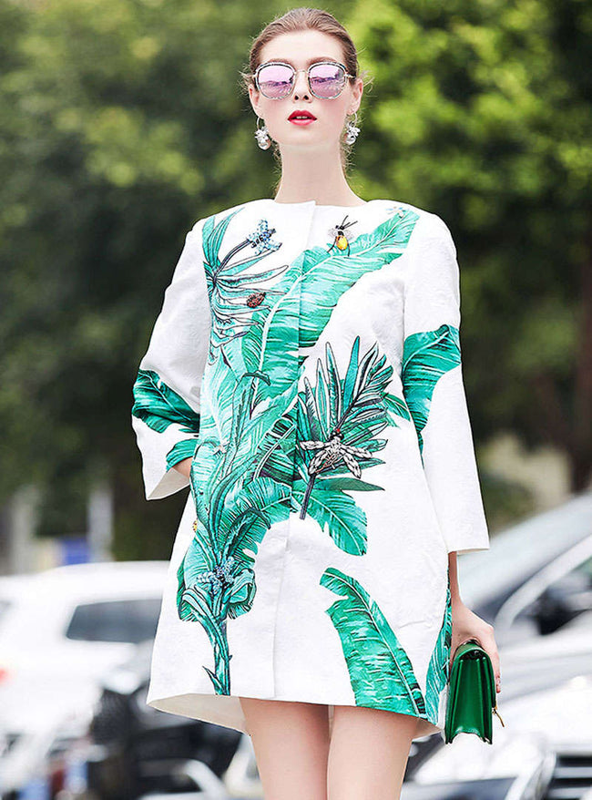 White Plant Printed Loose Wind Coat