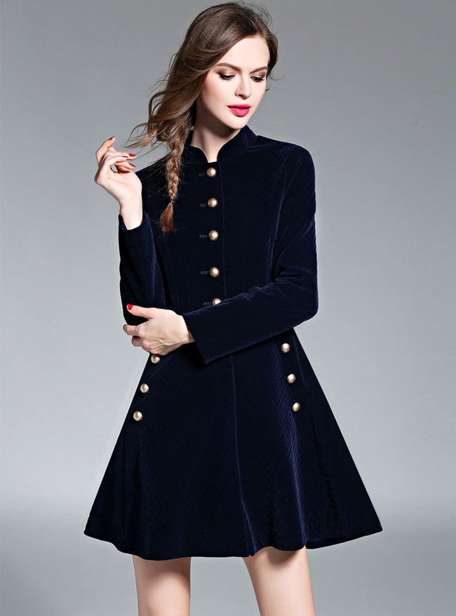 Navy Blue Stand Collar Front Buttoned Mini Dress