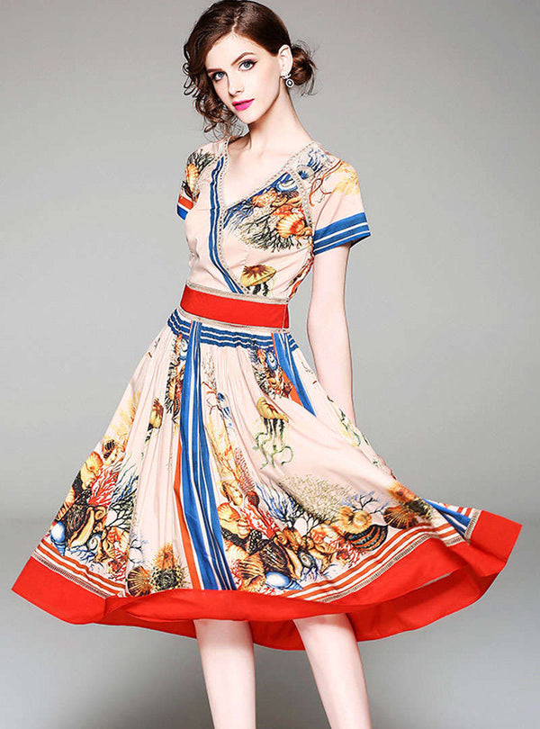 Multi Color Floral Printed V-Neck Midi Dress