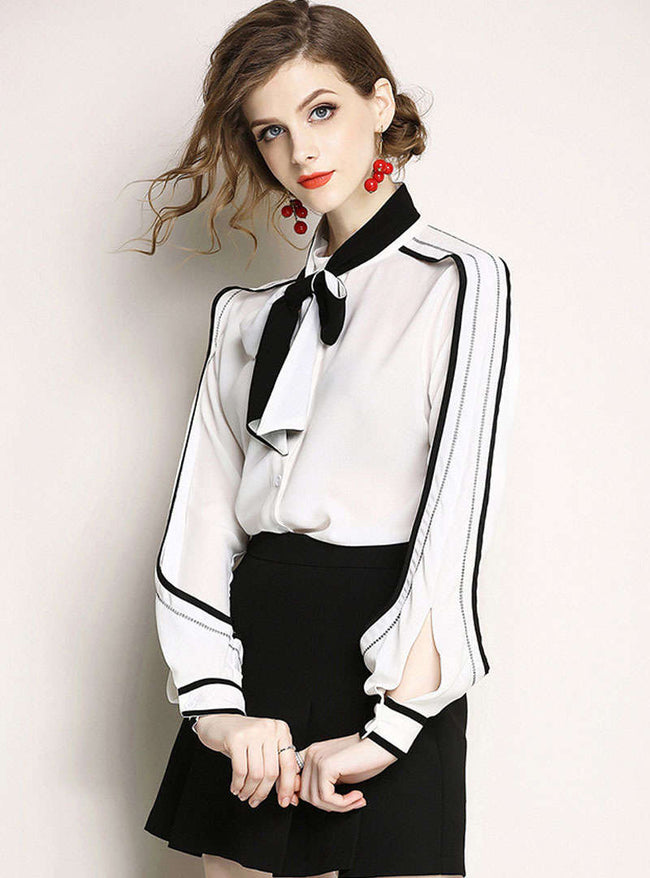 White Chiffon Bow Neck Loose Blouse