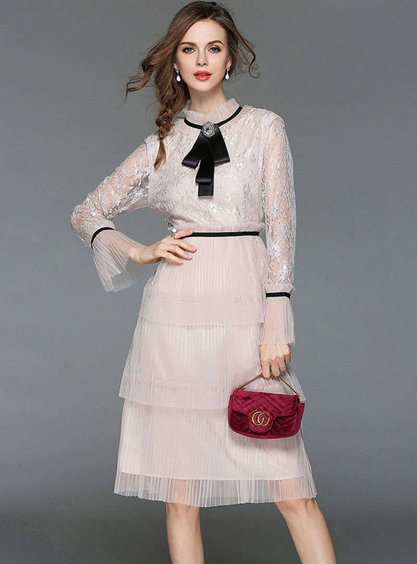 Apricot Flare Sleeve Lace Pleated Midi Dress