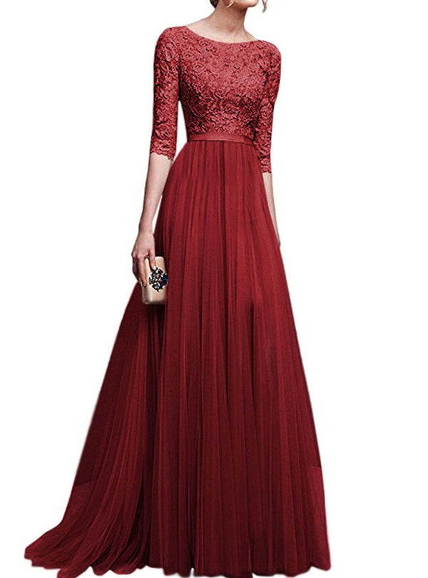 Solid Color Lace Embroided Elegant Dress
