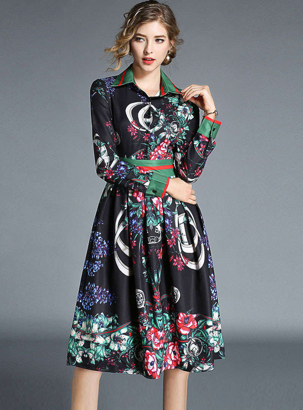 Black Floral Printed Cinched Waist Pleated Dress