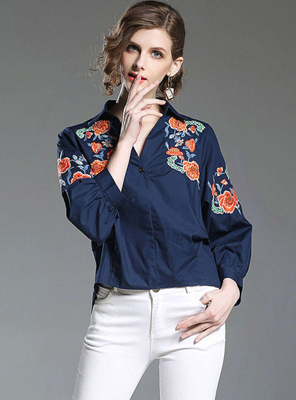 Navy Blue V-Neck Embroidered Asymmetric Blouse