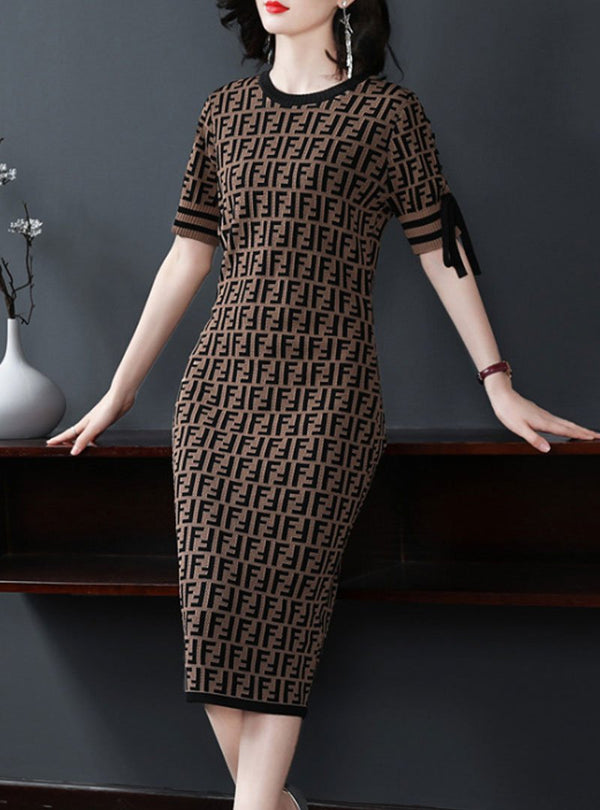 Brown Printed Elegant Knitted Sweater Dress