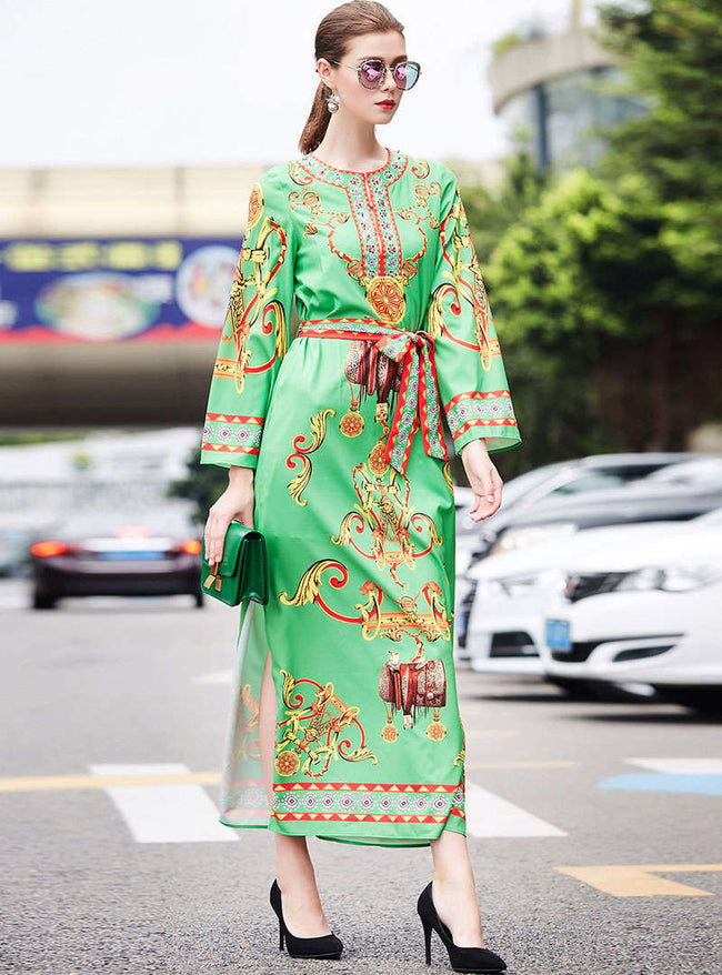 Green Floral Printed Tie Waist Maxi Dress