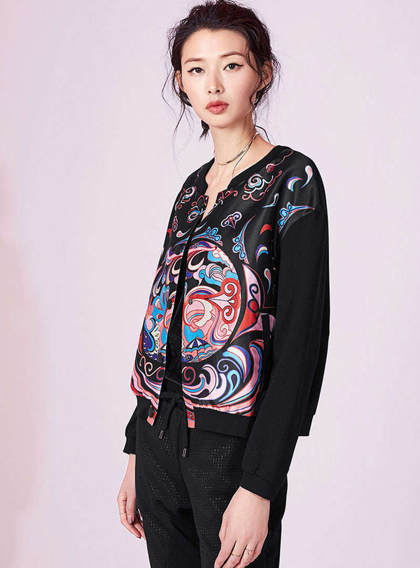 Black Printed Buckle Basebal Jacket