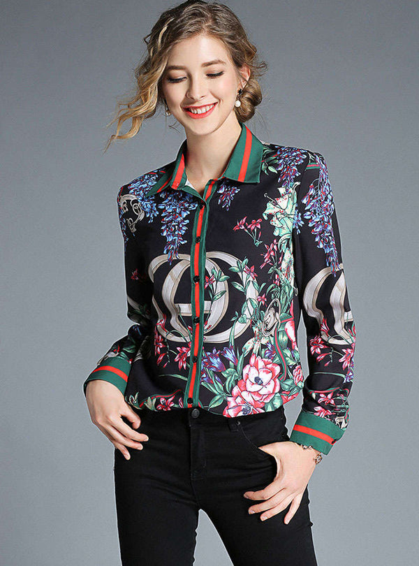 Black Floral Printed Turn Down Collar Blouse