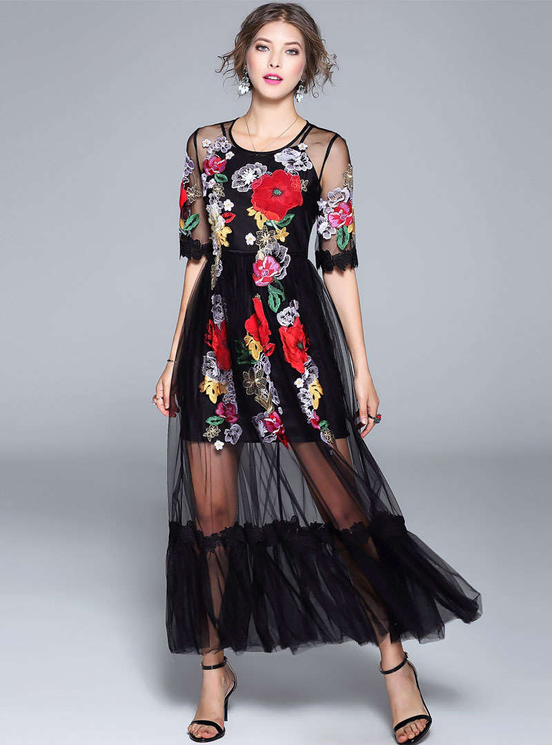 Floral Embroidered Mesh Hollow Out Swing Dress