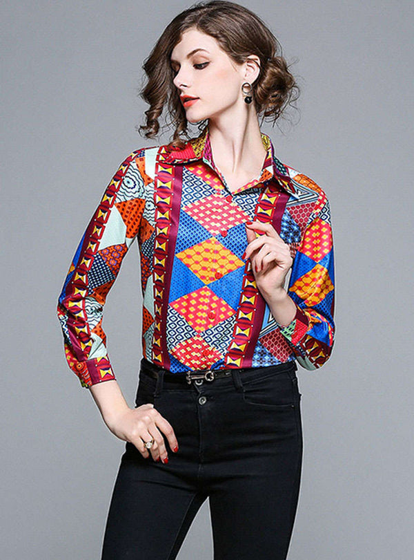 Red Geometry Pattern Printed Blouse