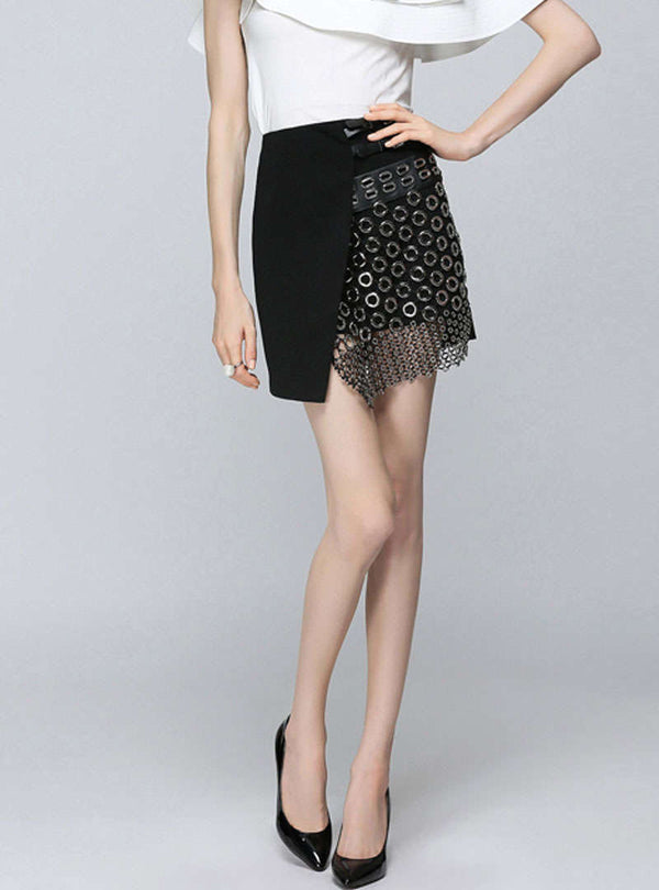 Black Irregular Split Hollow Out Skirt