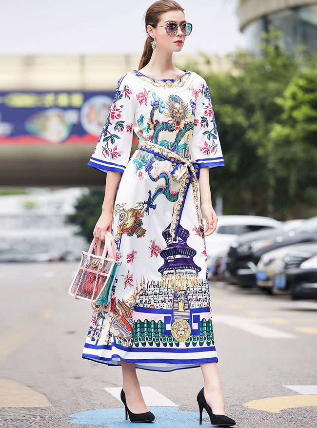 Round-Neck Floral Printed Tie Waist Maxi Dress