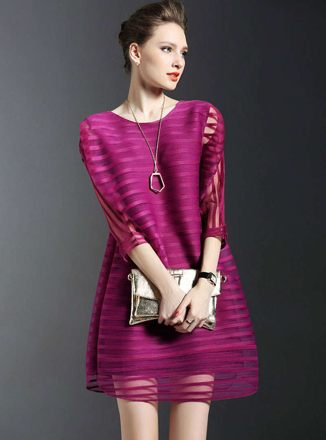 Solid Color Batwing Sleeve Mini Dress