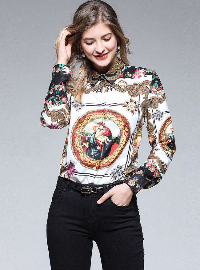 Brown Retro Floral Printed Blouse
