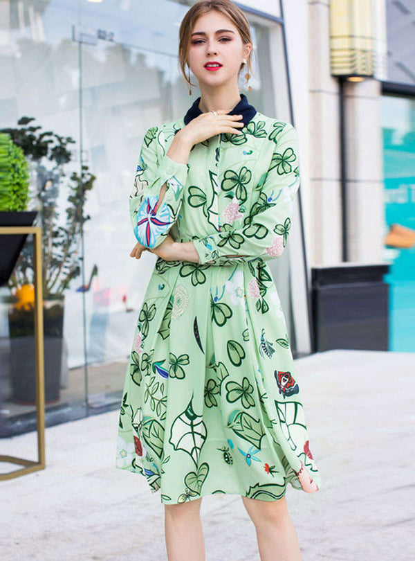 Green Floral Printed Belted Waist Midi Dress