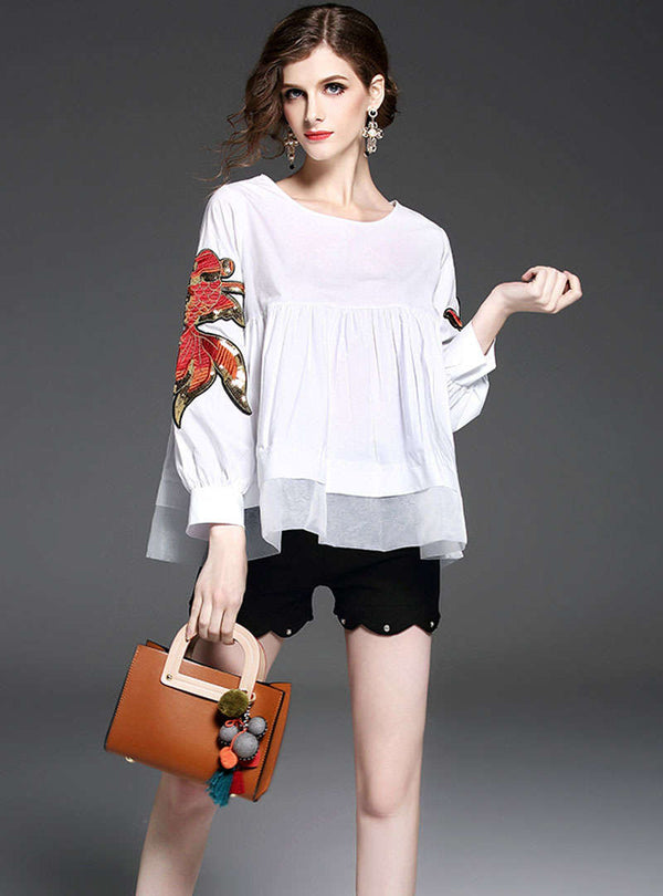 White Round-Neck Embroidered Blouse