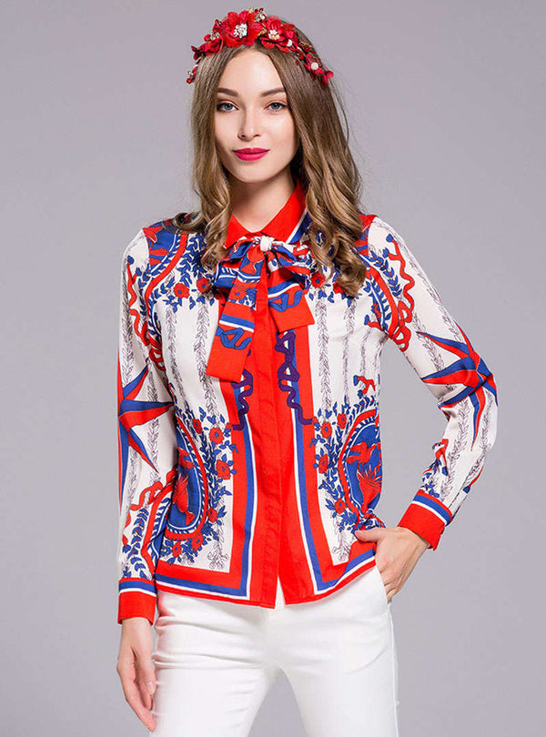 Multi Color Scenery Printed Bowknot Neck Blouse