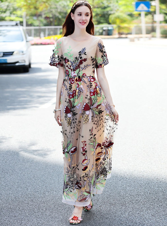 Champagne Embroidered Floral Maxi Dress