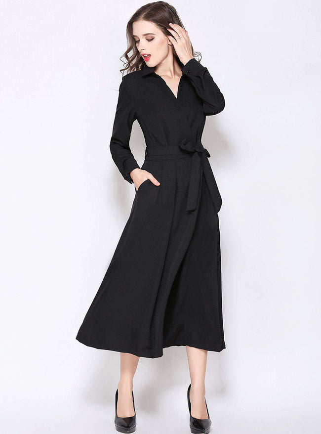 Black Turn Down Collar Trench Maxi Dress With Ribbon