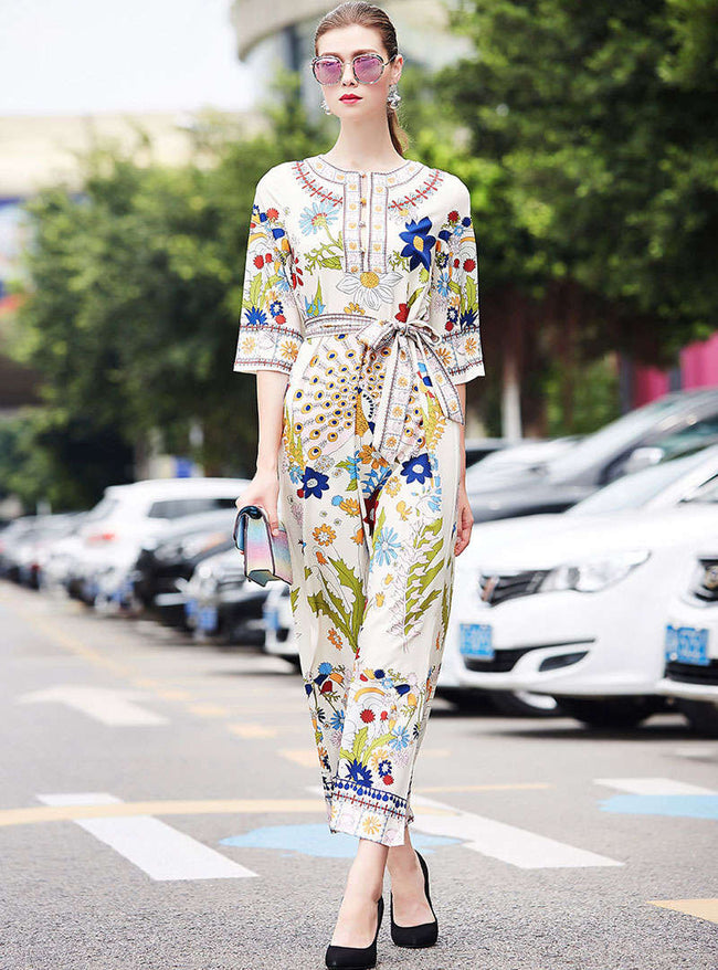 Floral Printed Tie Waist Split Maxi Dress